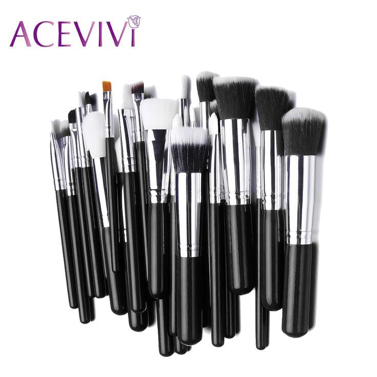 ACEVIVI 25PCS Makeup Foundation Brush Sets Wood Handle Cosmetic Blending Pencil Brush Eyeshadow Brush Cosmetic Tool Kits #Affiliate