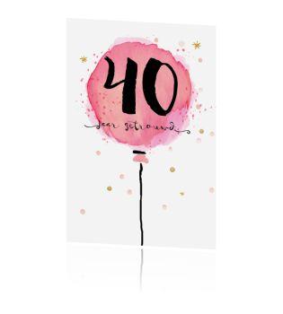 Uitnodiging 40 jaar met roze aquarel ballon typografie