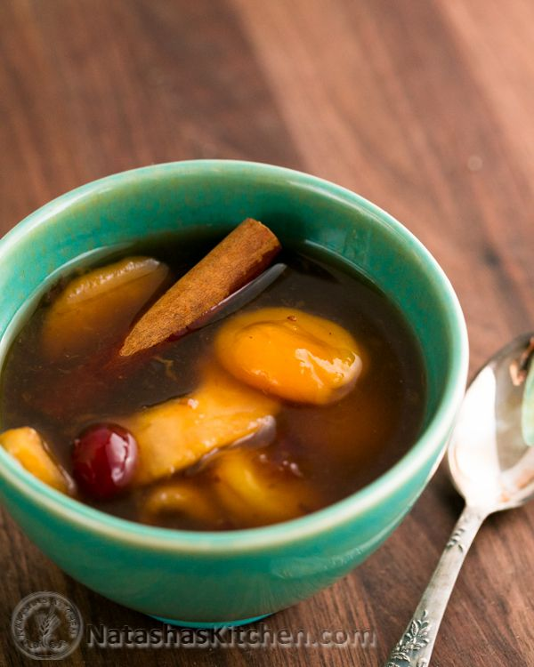 Ingredients for Winter Kisiel (kysil) 2 cups dried fruit (we used about 1/2 cup dried apples, 1/2 cup prunes, 1/2 cup apricots, 1/4 cup craisins) 6 cups boiling hot water 1/2 cup cold water 2 Tbsp potato starch 2-3 Tbsp honey 1 small cinnamon stick