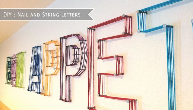 String and nails. Awesome.: Wall Art, Idea, Craft, Playroom, String Art, String Letters, Diy Nails, Kids Rooms
