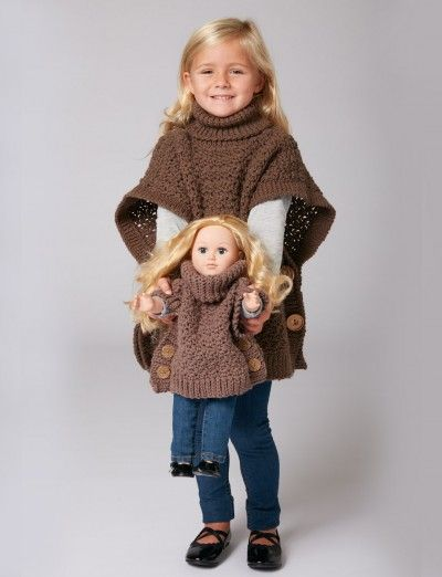 free patterns; crochet; poncho; 18 inch doll and child