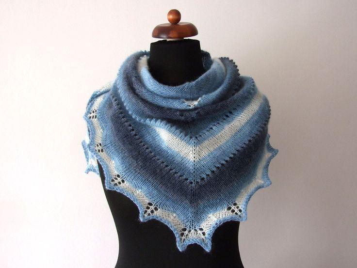 Triangular scarves rock! http://etsy.me/2CADnJI #accessories #shawl #blue #birthdaygift #white #bluewhitescarf #scarfknitted #handknitshawl #handmade #shawl #etsy #etsyfinds #etsygifts