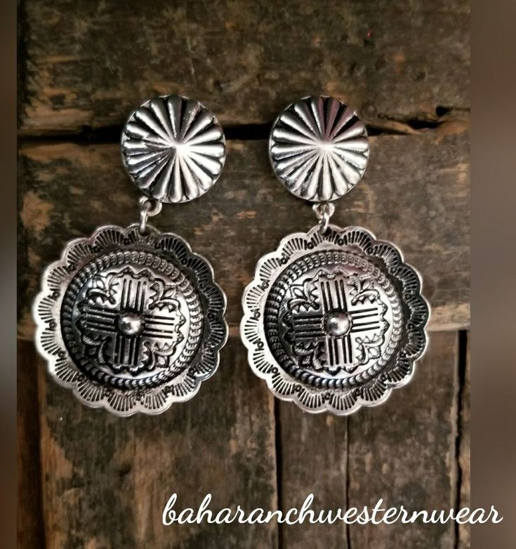 Cowgirl Bling Gypsy SILVER CONCHO EARRINGS zia southwest western #Baharanchwesternwear #pierced