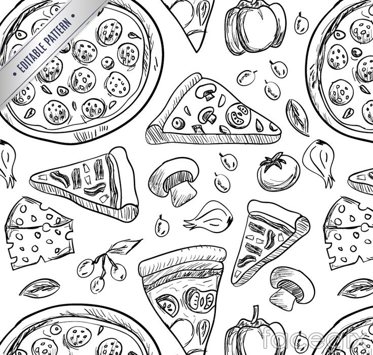 Hand-painted a delicious pizza, vector