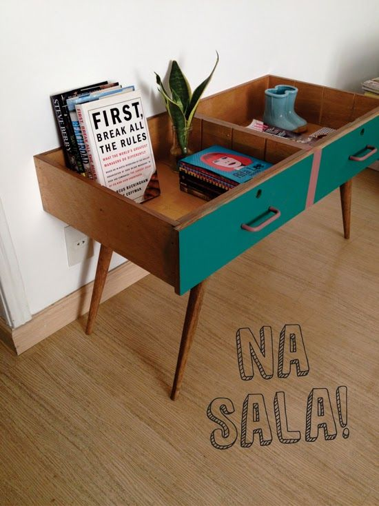 Small table made from two drawers