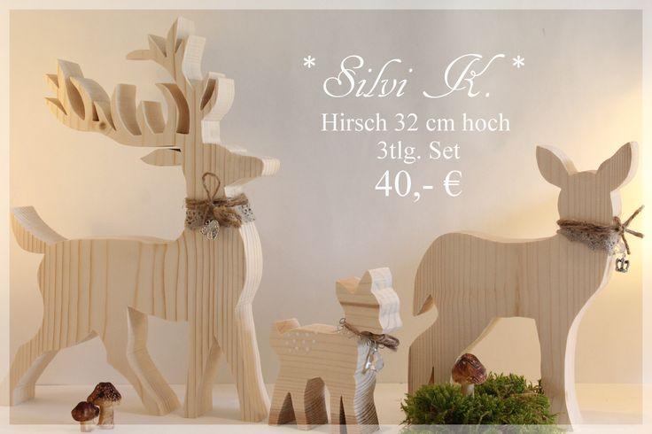 erhältlich hier: http://de.dawanda.com/shop/anavlis Handarbeit aus Holz, Hirsch, Reh, Kitz, Hirschfamilie, Herbst, Winter, Natur, Silvi K.