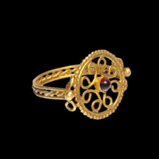 Lot: Byzantine Gold Open-Work Ring, 11th-12th Century A.D., Lot Number: 0003, Starting Bid: $900, Auctioneer: Artemission, Auction: Antique Jewellery of the Ancient World, Date: March 22nd, 2017 CET