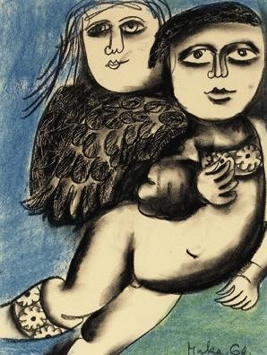 Angels 1964 Charcoal and pastel on paper:  Mirka Madeleine Mora (1928-.) Australia