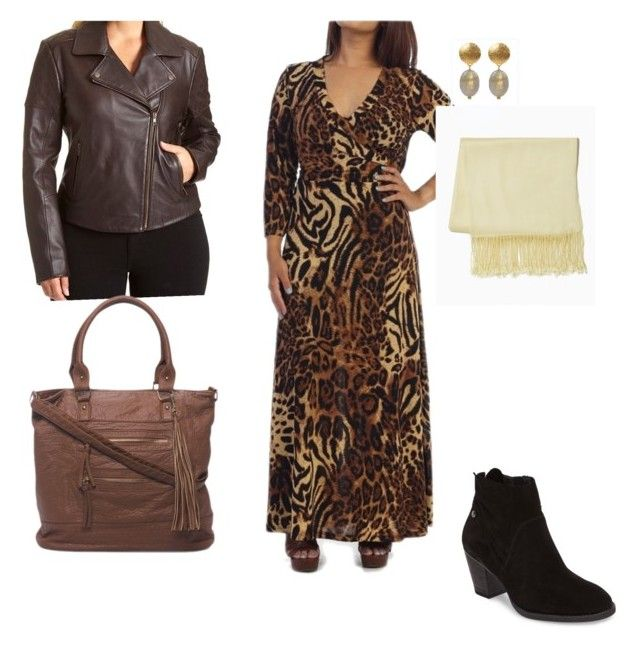 """""""leopard maxi"""" by gillian-jacobs on Polyvore featuring Excelled, Paul Green, neutral, bohoglam and plus size dresses"""