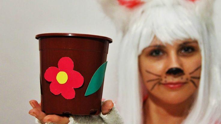 Киска Сюрпризка украшаем цветочный горшок своими руками. Простые поделки...
