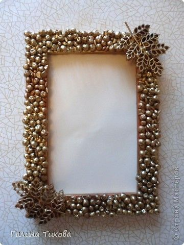 Photo Frame, decorated with green peas, barley and curly pasta.: Glue Guns, Curly Pasta, Sprays W Pearls, Diy'S Projects, Photo Frames, Numbers Frames, Wooden Frames, Pearls Barley, Diy'S Pasta