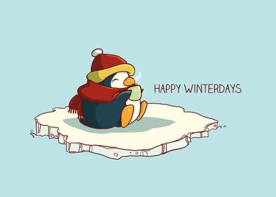 happy penguin holidaycard illustration by Sylvia Strijk
