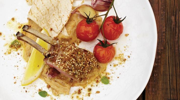 Chris' Dukkah Crusted Lamb Rack.  http://www.chrisdips.com.au/dukkah-crusted-lamb-rack