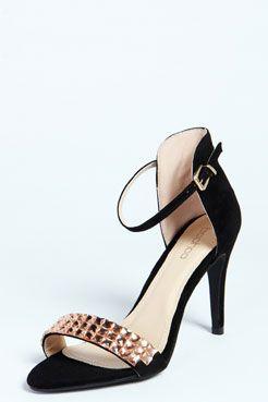 Connie Diamante Strap Skinny Heels at boohoo.com