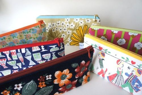pen cases with vintage fabric