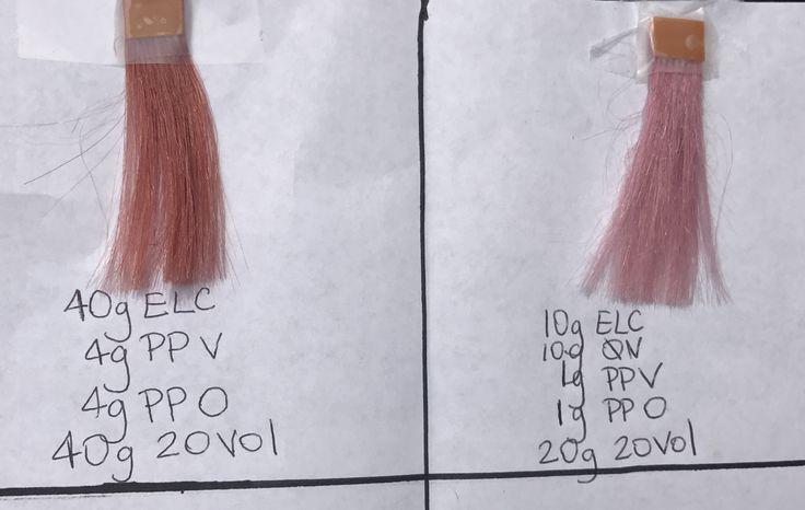 Aveda rose gold, rosé, pink formula. Formulas done on pivot point white swatches.   Aveda hair color by Christy Bruski Spa Bleu salon