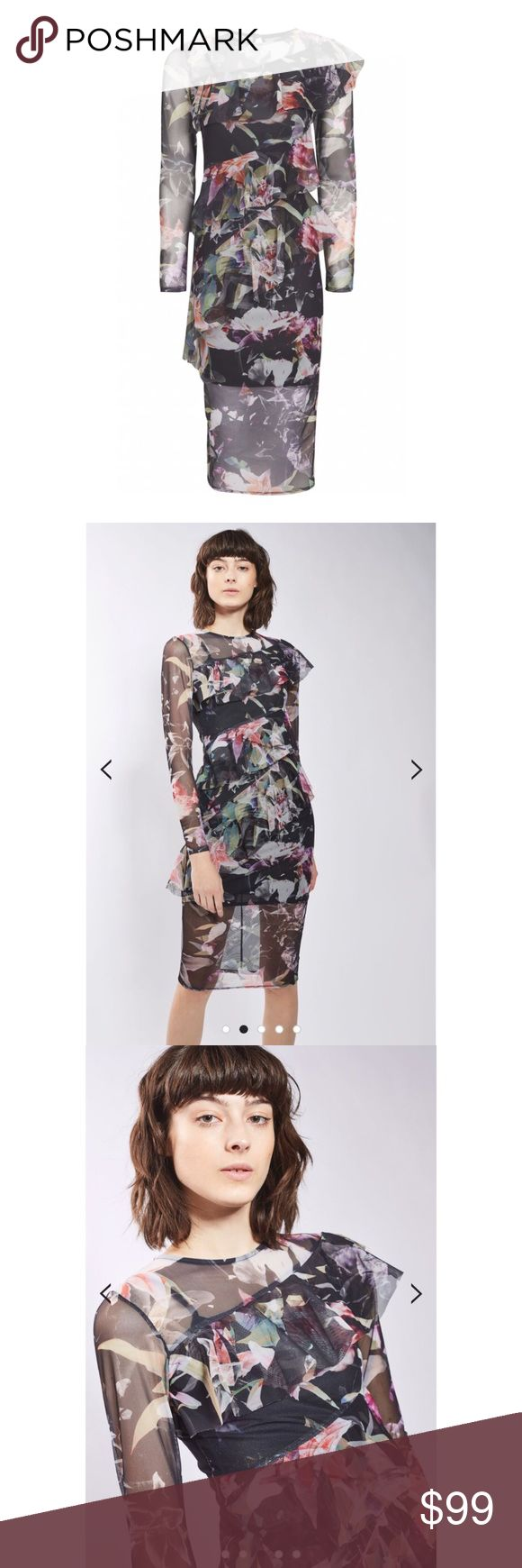 Topshop Floral Ruffle Mesh Midi Dress Floral printed multi colour mesh on a dark base with printed mesh frill long sleeves. 97% Polyester, 3% Elastane. Machine wash. Not lined. BRAND NEW never worn!! Topshop Dresses Midi