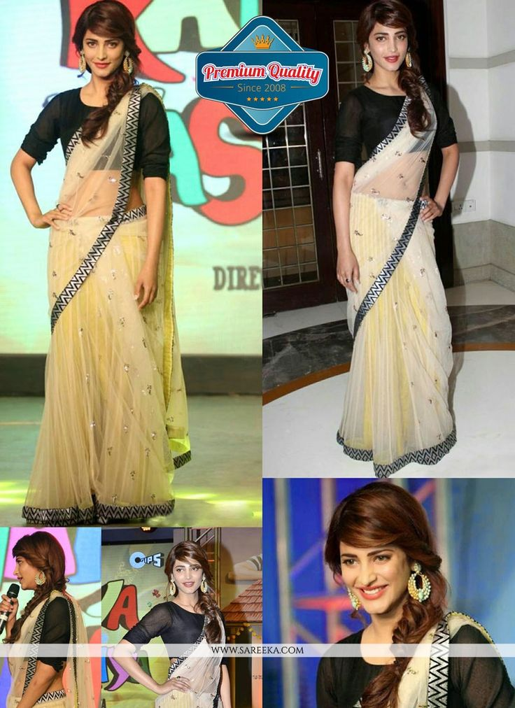 Shruti hasan style black and cream net saree made with plain taxture and patch border work.This saree comes with matching unstitched blouse....