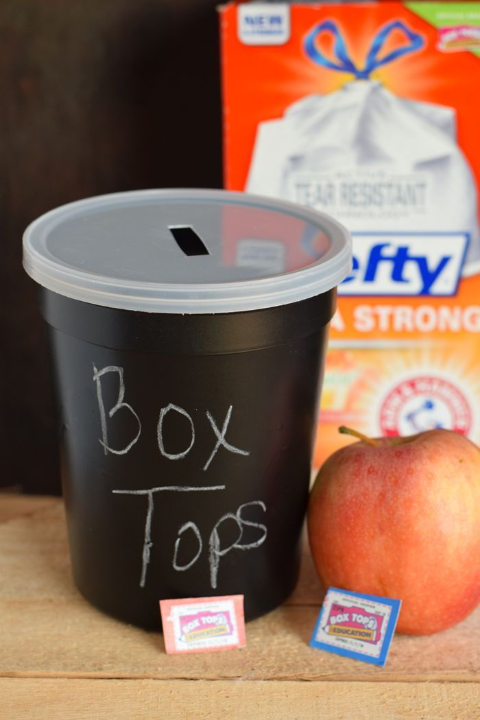 Chalkboard Box Top Container AD An easy container for collecting box tops