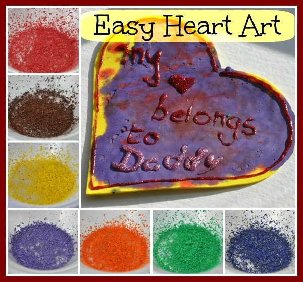 valentine hearts art: crayon shavings melted under wax paper with an iron onto a foam heart, then glitter glue writing and a hole if hanging is desired
