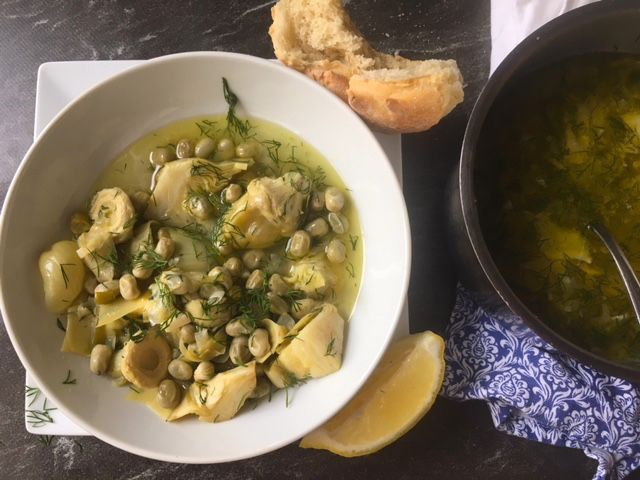 Stewed Artichokes with Fava Beans | The Greek Vegan