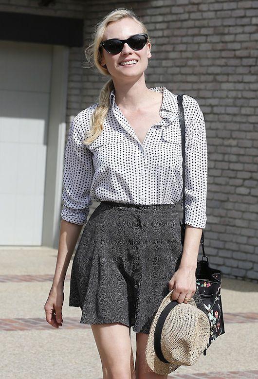 Diane Kruger style black glasses high waist smile hat