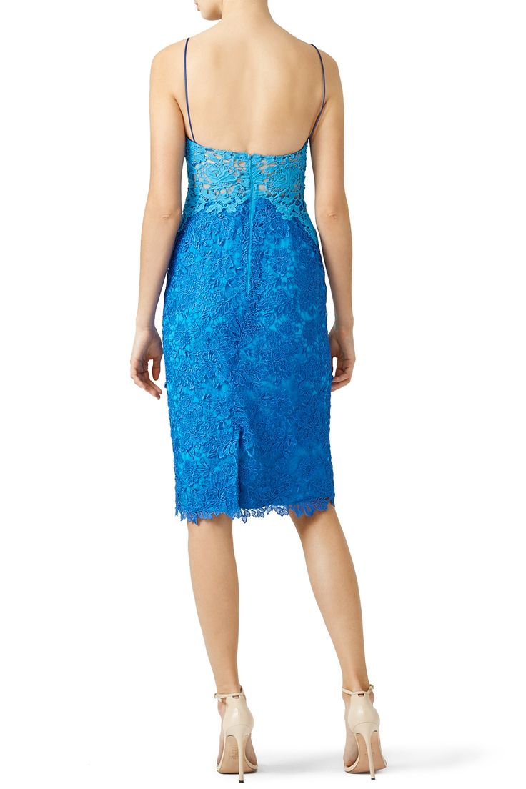 Rent Blue Contrast Lace Sheath by ML Monique Lhuillier for $55 - $90 only at Rent the Runway.