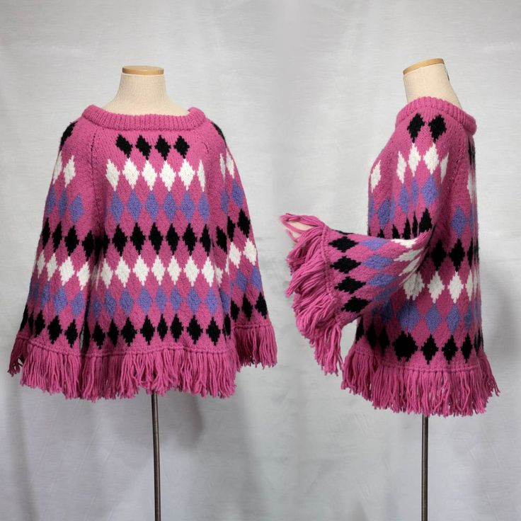 60s 70s fringe sweater/1960s Vintage fringe poncho/boho 70s sweater/bright hot pink sweater/mod bell angel long sleeve sweater women M S by MadCrushVintage on Etsy
