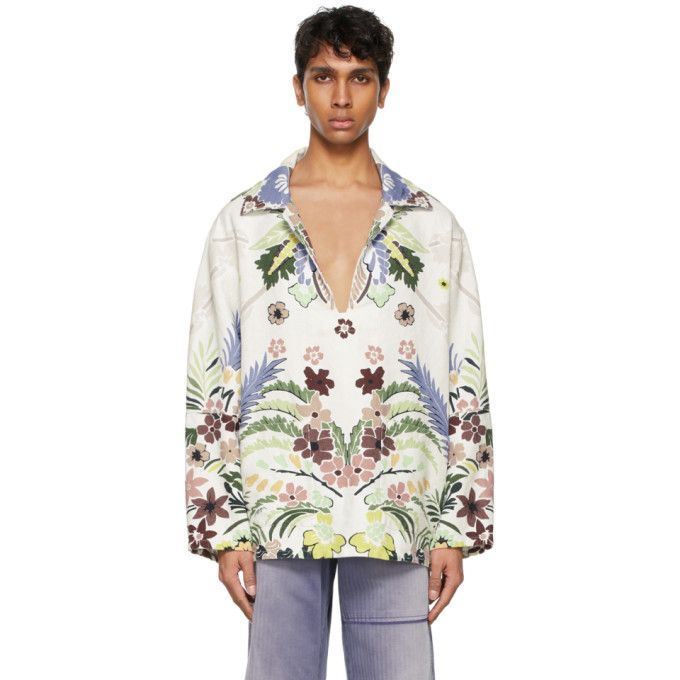 Long sleeve hemp canvas shirt in white. Multicolor graphic and logo printed in black throughout. Open spread collar. Vent at chest. Patch pockets at waist. Supplier color: Green/Multicolor Canvas Shirts, White Shop, Hemp, Printed Shirts, Valentino, Long Sleeve Shirts, Women Wear, Tropical, Pockets