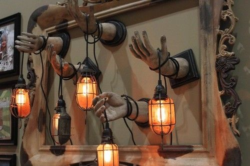 You could easily make this with the dollar store hands, love the light..reminds me of bioshock.