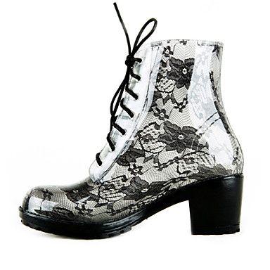 Vrouwen Chunky Heel Ankle regen laarzen met kant-up (meer kleuren) – EUR € 44.99