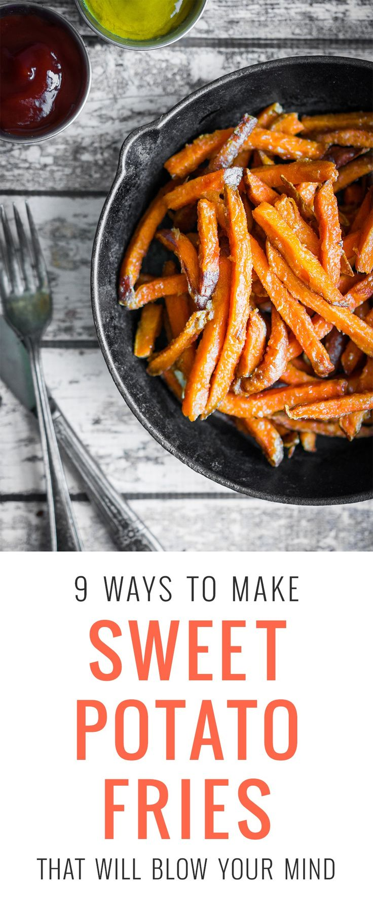 When you swap out white potatoes for sweet potatoes, you add a lot of nutritional value, and if you roast them instead of frying, they're even healthier. Sweet potatoes are full of beta carotene, B vitamins, potassium, fiber and phosphorous. For these recipes I use white, garnet and purple varieties.