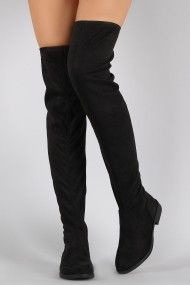 Bamboo Vegan Suede Flat Thigh High Boots. These flat boots are knee high to thigh high length, depending on personal height. Designed to be fit hugging. Finished with inner side zipper for easy on-off wear. Material: Vegan Suede. Color: Black.