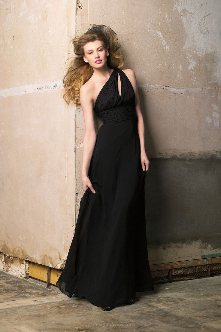 14 best black bridesmaid dresses images on pinterest black black chiffon one shoulder floor length formal dress with front keyhole ombrellifo Image collections