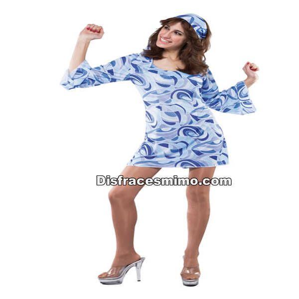 DisfracesMimo, disfraz vestido hippie azul adulto para mujer.Vuelve a estos mágicos años con este traje de hippie tan colorido su vestido y cinta para el pelo, en tus fiestas temáticas y de carnaval.