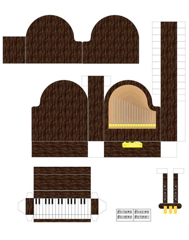 FREE printable paper art doll house furniture, etc.  Includes grand piano!