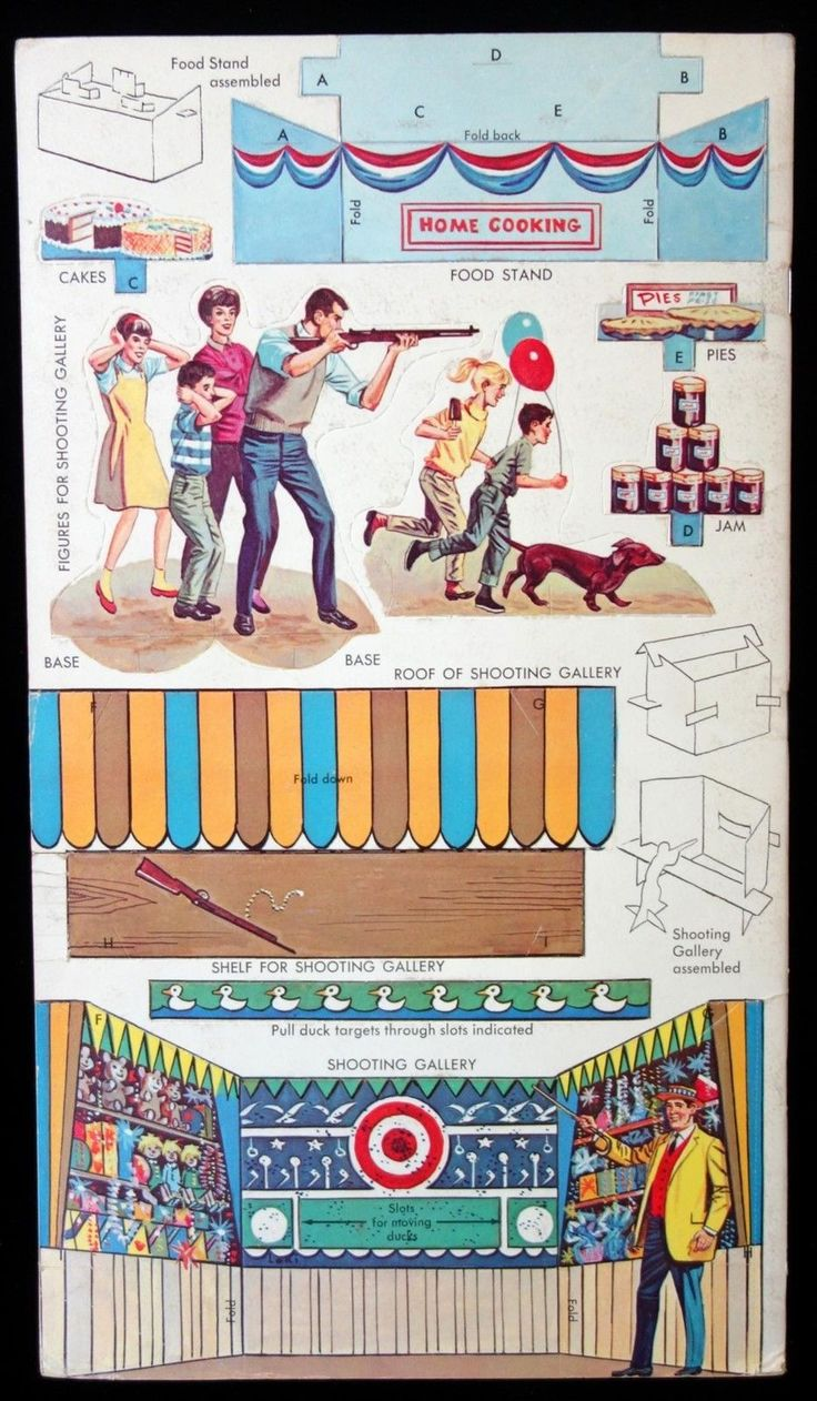 Country Fair Uncut Punch Out BK w Midway Ferris Wheel Shooting Gallery 1962 | eBay