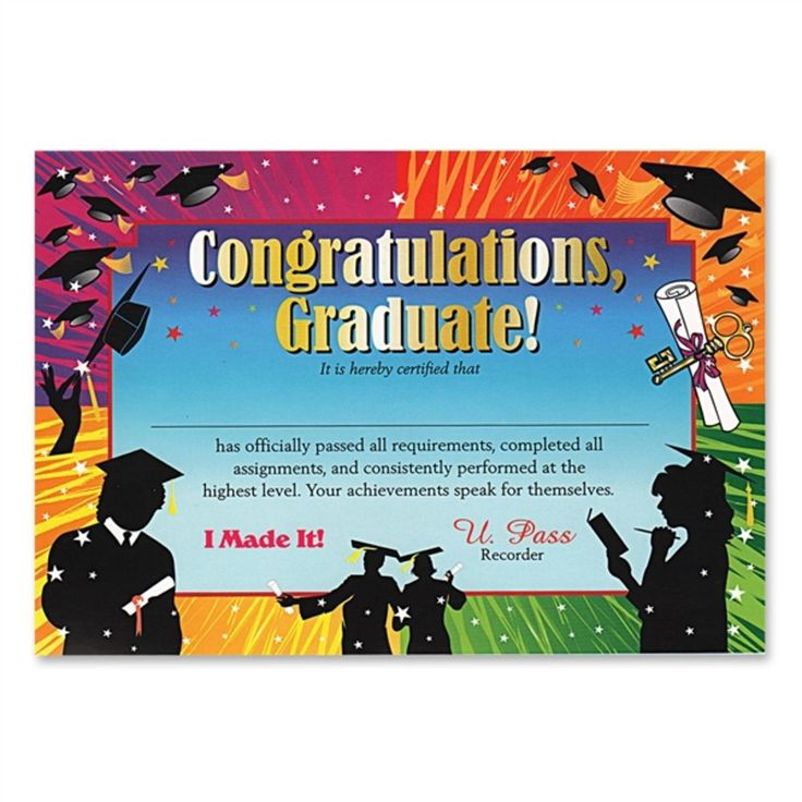 "Pack of 6 Colorful ""Congratulations Graduate"" Certificates 5"" x 7"", Multi"