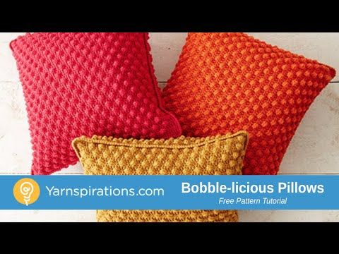 Crochet Tutorial! A textured, bobbled pillow is a comfy way to bring vibrant color into any room! Easily crocheted in Patons Canadiana yarn. | Bobble-licious Pillows - Patterns | Yarnspirations | crochet | free pattern | learn to crochet a pillow | learn to crochet