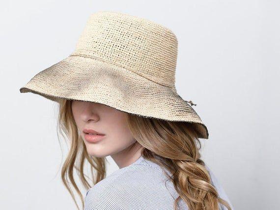 Wide brim black straw hat ,Straw hat , Straw hat for women , Summer hats , Sun hat , Beach hat, Boho chic hat , raffia hat – Products