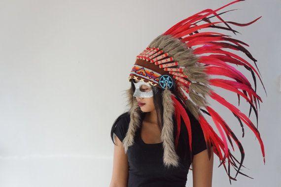 HALLOWEEN Red Native American Headdress Indian by bonesandskull