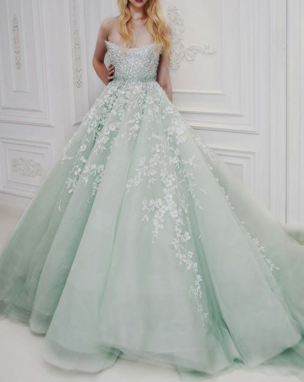 Amazing big pale mint wedding gown. Oh wow. I'm not big on non white wedding gowns but this is gorgeous.