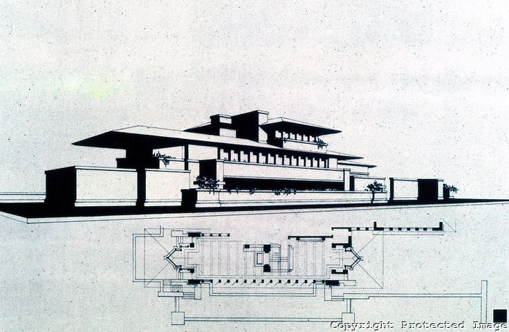 F L Wright Drawing Frederick C Robie House 1909