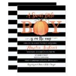 Little Boy Pumpkin Fall Baby Shower Invitation