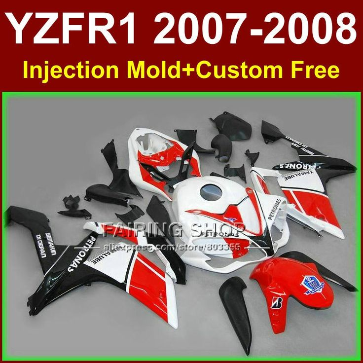(427.80$)  Watch now  - High quality bodyworks for YAMAHA YZFR1 2007 2008 R1 fairing sets YZF R1 YZF1000 YZF 1000 07 08 red white fairings kits GF6