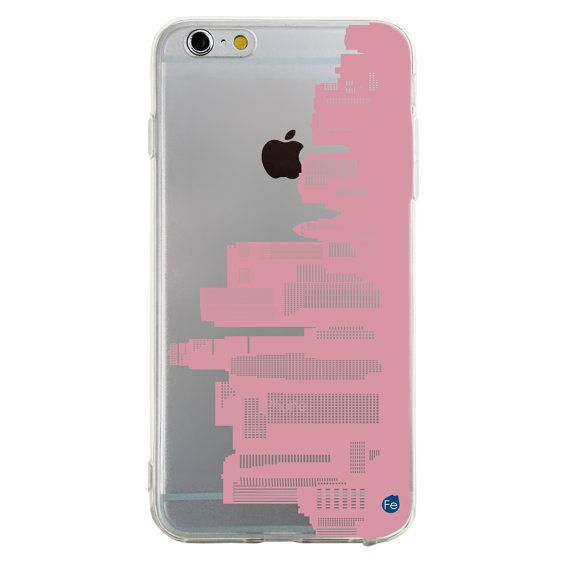 0096 Pastel Pink Downtown Los Angeles Skyline TPU Case di fourand8