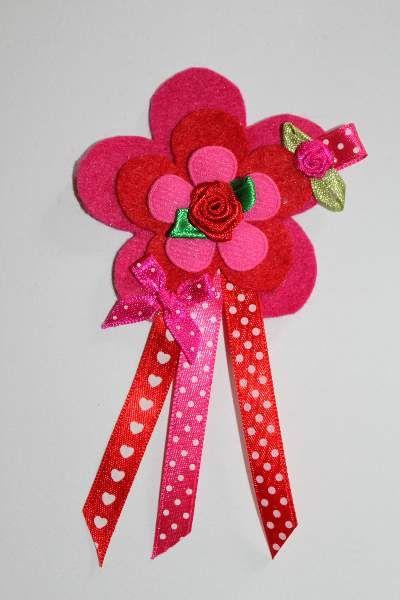 BGB011 Broche bloem roze/rood