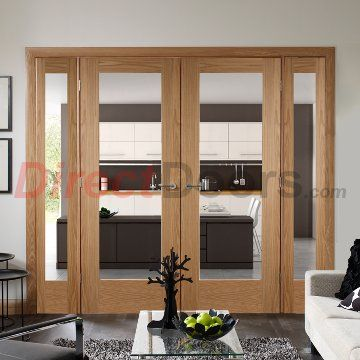 Small side farmes with central dor pair, Easi-Frame Oak Door Set, GOSHAP10-COEOP1, 2005mm Height, 1910mm Wide.  #interiorroomdivdiders #directdoors