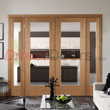 838mm wide central doors, fixed sides, Easi-Frame Oak Door Set, GOSHAP10-COEOP3-838, 2005mm Height, 2364mm Wide. #interiorroomdivdiders #directdoors