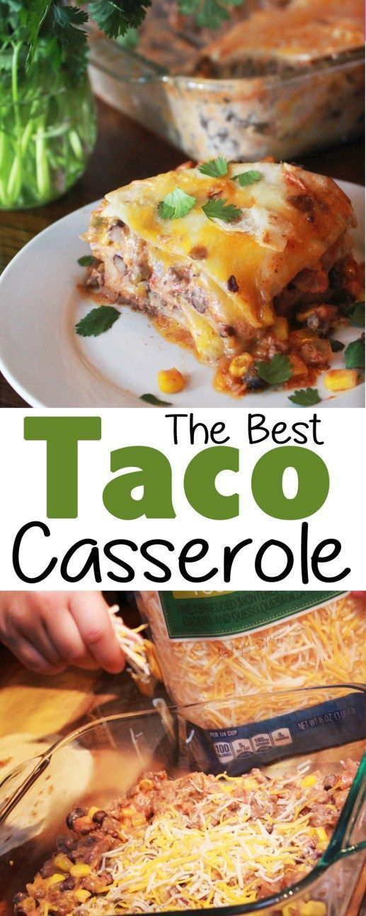 This taco casserole is so easy to make and feeds a large family! If you love tacos and all the yummy toppings, you will love this taco casserole!!  #taco #tacocasserole